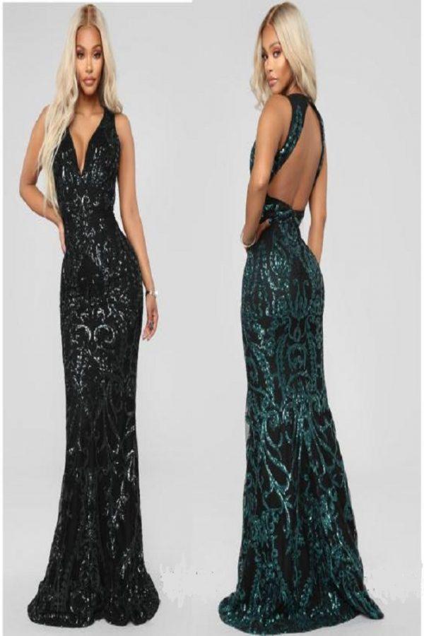 Long V-neck Sequins Dress with An Open Triangle Back