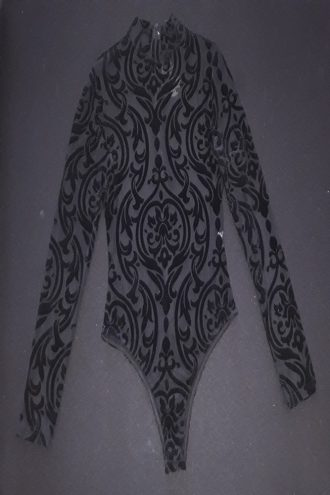 Long sleeve high neck body suit.This body suit is made out of stretchy burned velvet (mesh with printed velvet).