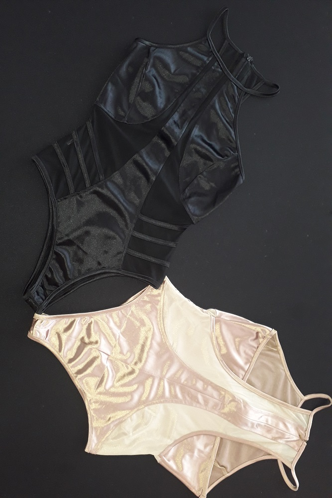 Silk And Mesh Paneled Body Suit