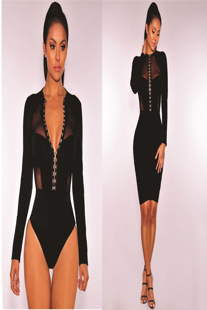 Long sleeve body suit with mesh detail.This body suit has silver metal hooks in front.