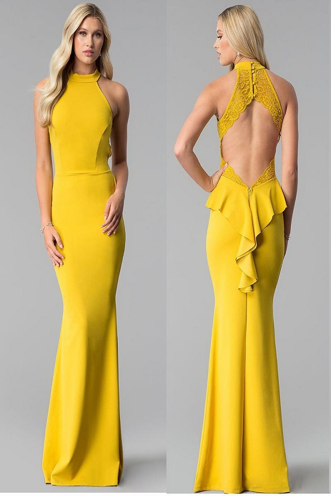 Long high neck dress with open back and detail at the back.