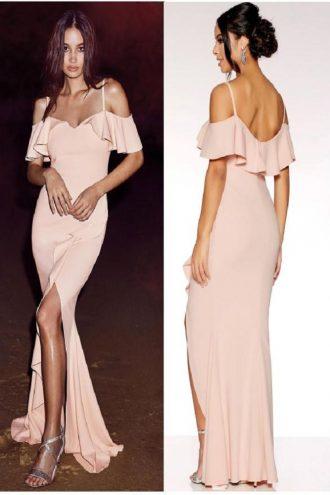 Long off shoulder dress with side slit