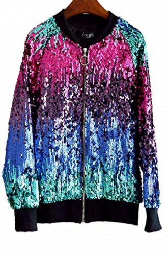 Long sleeve jacket with a zipper in front made of soft multi color sequined fabric This is a unique jacket to bling up any outfit.