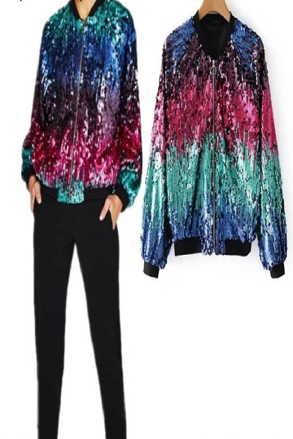Long sleeve jacket with a zipper in front made of soft multi color sequined fabric This is a unique jacket to bling up anyoutfit.
