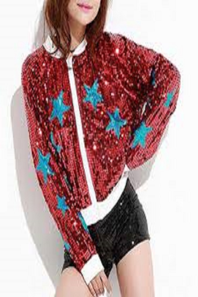 Long sleeve jacket with a zipper in front made of soft sequined fabric. This is a fun fashion statement piece and will bring bling to any outfit.
