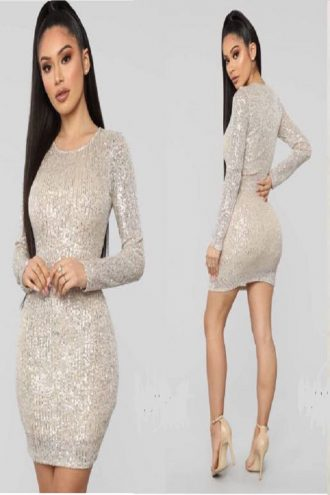Short full sequins dress with long sleeves.