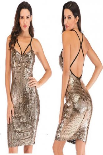 Full sequins cocktail dress